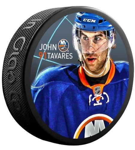 Sher-Wood-John-Tavares-New-York-Islanders-Star-Player-NHL-Puck-0