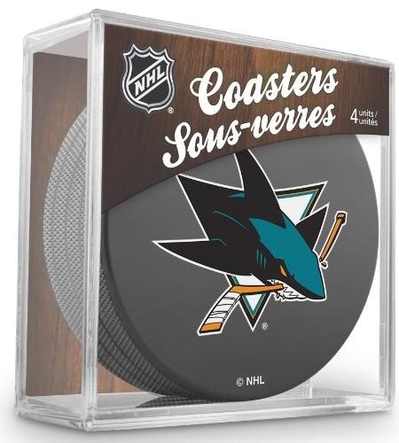 Sher-Wood-San-Jose-Sharks-NHL-Eishockey-Puck-Untersetzer-4er-Set-0