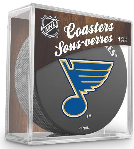Sher-Wood-St-Louis-Blues-NHL-Eishockey-Puck-Untersetzer-4er-Set-0