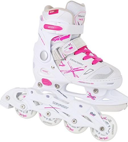 2in1-Schlittschuhe-Inliner-ABEC5-pink-wei-Gr-29-32-33-36-37-40-verstellbare-Mdchen-Skates-0