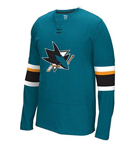 San-Jose-Sharks-Reebok-NHL-Face-Off-Long-Sleeve-Jersey-Trikot-Shirt-0