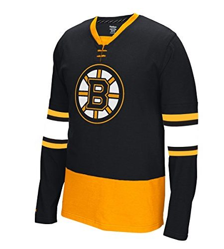 Boston-Bruins-Reebok-NHL-Face-Off-Long-Sleeve-Jersey-Trikot-Shirt-0