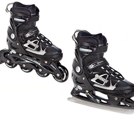 2in1-Schlittschuhe-Inline-Skates-Inliner-Raven-Spirit-BlackWhite-verstellbar-0