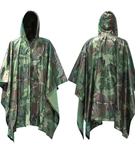 Regen-Poncho-Infreecs-Wasserdichter-Regenponcho-fr-die-Jagd-Camping-Rad-Regenponcho-Camouflage-Rain-Poncho-Wandern-Regencape-Grn-0