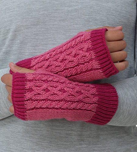 Trailheads-Damen-Pulswrmer-Handwrmer-Stulpen-fingerlose-Handschuhe-mit-Zopfmuster-Kabelstrick-0