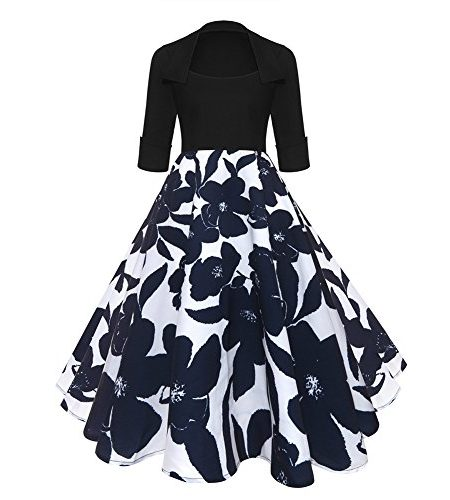 iShine-Splei-Kleid-Damen-Knielang-12-Arm-Rockabilly-Kleid-mit-Revers-Swing-Faltenrock-Partykleid-Cocktailkleid-0